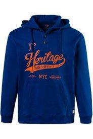 Hoodie, Heritage-Motiv, Kapuze, Knopfleiste, Kängurutaschen, Baumwolle
