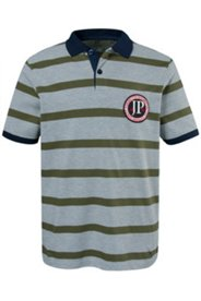 Poloshirt, sportiver Streifen & Badge, Seitenschlitze, Pikee-Qualität