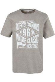 T-Shirt, Streifen & großem Vintage-Druck, Halbarm, Rundhalsausschnitt