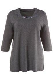 Shirt, Glasperlen, 3/4-Arm, Punto-di-Roma-Qualität