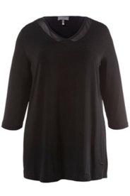 Shirt, transparente Ausschnittblende, 3/4-Arm, Cupro-Qualität