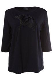 Shirt, Blumen-Applikation, Elasthan