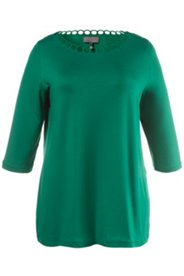 Shirt, Lochstickerei am Ausschnitt, 3/4-Arm, Crêpe-Jersey