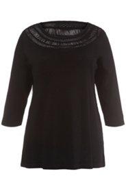 Pullover, verzierter Ausschnitt, weicher Viskose-Feinstrick