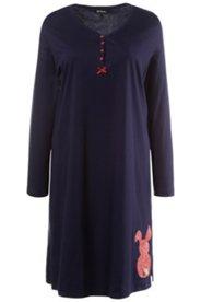 Nachthemd, Hasenmotiv, Knopfleiste, Langarm, 100 % BaumwolleNachthemd, Hasenmotiv, Knopfleiste, Langarm, 100 % Baumwolle