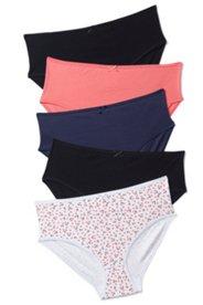 Slips, 5er-Pack, Kirschdruck und Uni, Baumwolle