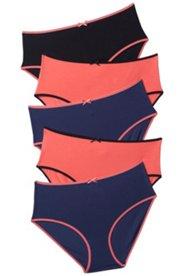 Slips, Kontrastbündchen, 5er-Pack, Baumwolle