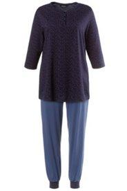 Pyjama, Oberteil gepunktet, elastischer Beinabschluss
