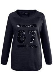 Sweatshirt, Pailletten-Stickerei, U-Boot-Ausschnitt