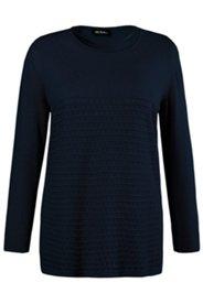 Pullover, transparentes Ajourmuster, Rundhalsausschnitt