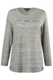Pullover, Schriftzug, Melange-Optik