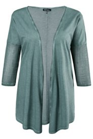 Shirtjacke, Zipfelsaum, offene Form, Netzstrick-Ärmel