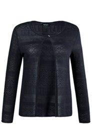 Shirtjacke, transparente Ajourmuster, kürzere Form