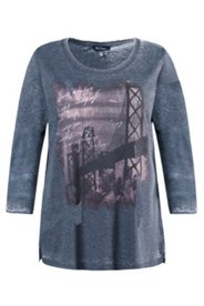 Shirt, Stadt-Motiv, Jeans-Optik, Ausbrenner-Jersey