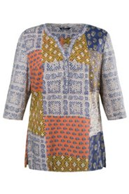 Bluse, Patchlook, A-Linie, 3/4-Arm