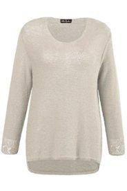 Pullover, Ajourmuster, leicht transparent, Bändchengarn