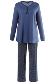 Pyjama, Spitzendruck, Knopfleiste, Baumwolle