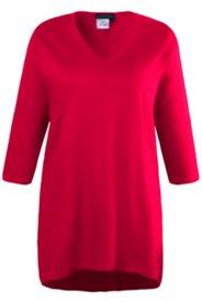 Long-Shirt, Zipfelsaum, V-Ausschnitt, 3/4-Arm