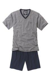 Schlafanzug, kurze, zweifarbige Form, klimaaktiver Jersey