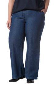 Jeans, Marlene, ausgestelltes Bein, fester Bund