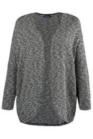 Sweat-Jacke, offene Form, zweifarbiges Fischgrat-Muster, gerundeter Saum