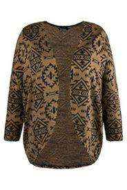 Sweat-Jacke, offene Form, zweifarbiges Inka-Muster, gerundeter Saum