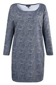 Sweat-Kleid, Rundhalsausschnitt, schwarz-weiß-Alloverdruck