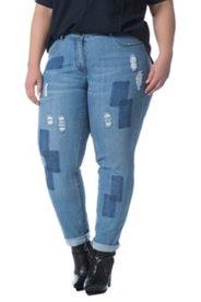 Skinny-Jeans, Patches, Destroy-Effekte, Reißverschluss, Stretch-Denim