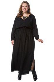 Kleid, lang, V-Ausschnitt, Elastikband in der Taille, Seitenschlitz