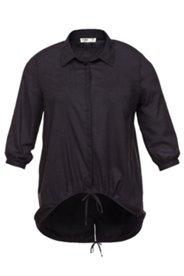 Bluse, Tunnelzug-Saum, hinten verlängert, 100% Baumwolle
