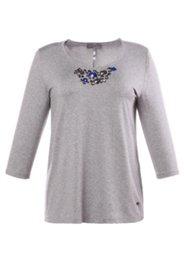 Shirt mit Ziersteinen und Elasthan, A-Linie