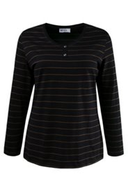 Accent Button Striped L/S Tee
