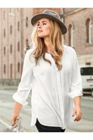 Pintuck Roll Sleeve Button Front Blouse