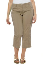 Stretch Twill Seamed Crop Pants
