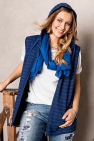 Striped Hooded Sweatshirt Vest
