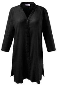 Crinkle Cotton Tunic Blouse