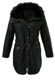 Belted Fur Trim Outdoor Jacket