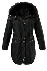 Belted Fur Trim Outdoor Jacket