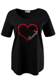 Heart and Sequin Embroidered Tee