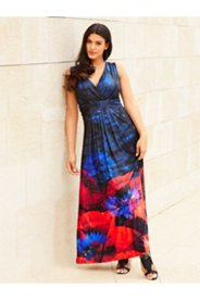 Poppy Border Floral Maxi Dress
