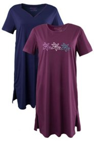2 Pack Sleep Tees - Floral Stamp and Navy