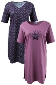 Sleep Tee - 2 Pack - Floral Print and Stamp