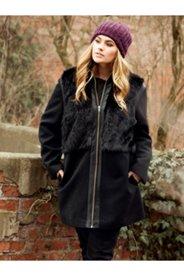 Faux Fur Accent Zip Jacket