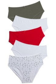 5 Pack of Panties - Khaki, Cherry, White