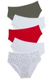 5 Pack of Panties - Khaki, Cherry, White