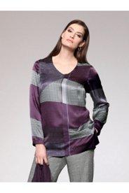 Geometric Print Silk Blend Blouse