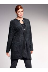 Faux Leather Trim Boucle Knit Jacket