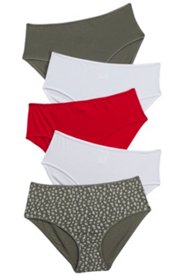 5 Pack of Briefs - Leaves, Khaki, Cherry