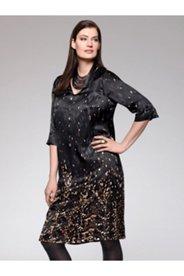 Falling Modern Leaf Print Silk Blend Dress