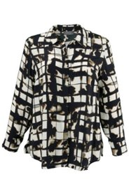 Modern Window Pane Print Blouse